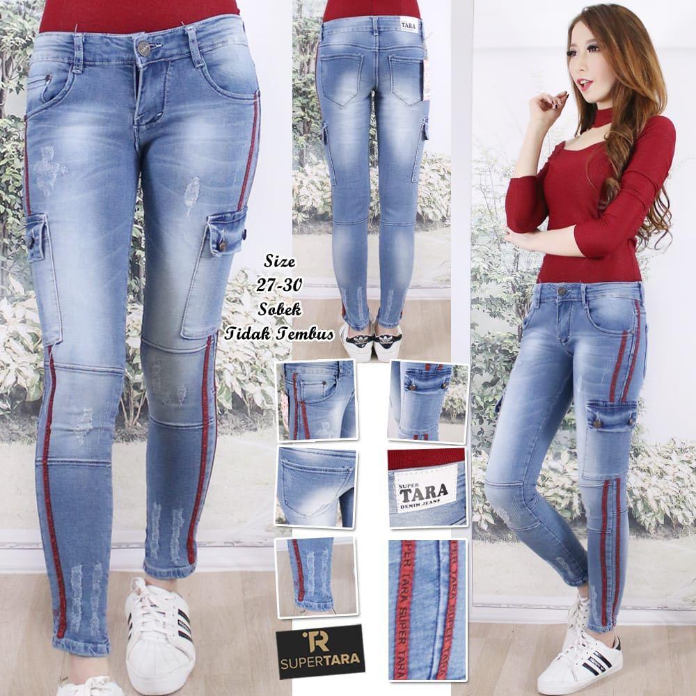 Ola store celana jeans wanita kantong kargo