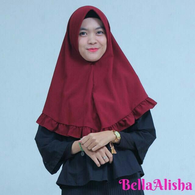 MochiMochiFashion Jilbab Aiyra Khimar - Maroon No.371