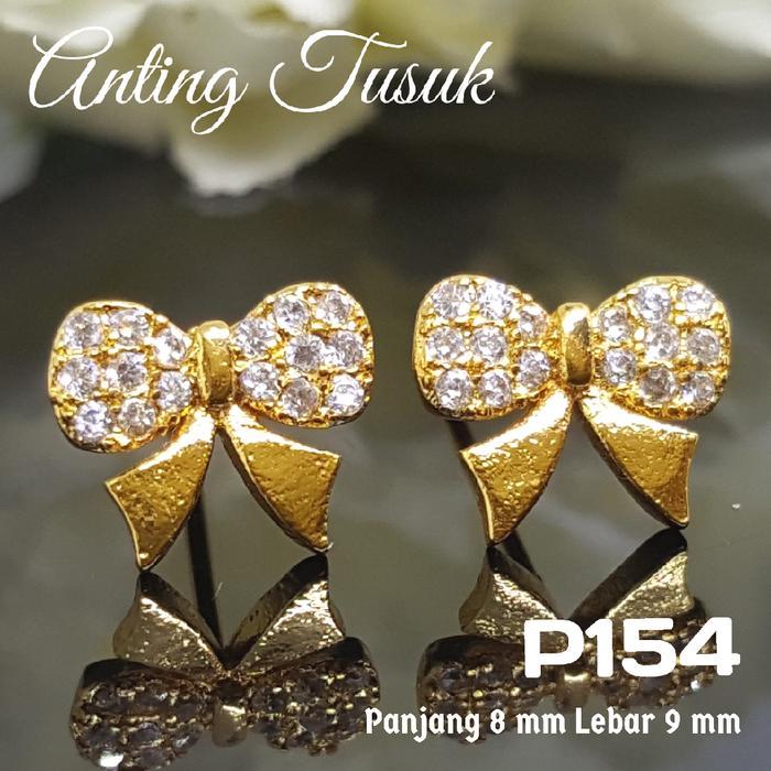 P154 Anting Tusuk Giwang Pita /Set Perhiasan Imitasi Xuping Lapis Emas
