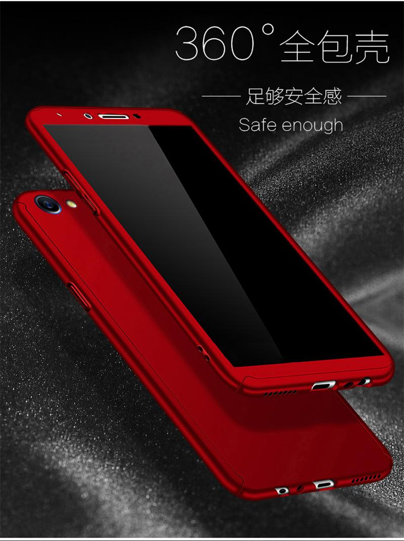 Hardcase Case 360 Oppo F5/ F5 Youth Casing Fullset Free Tempered Glass - MERAH