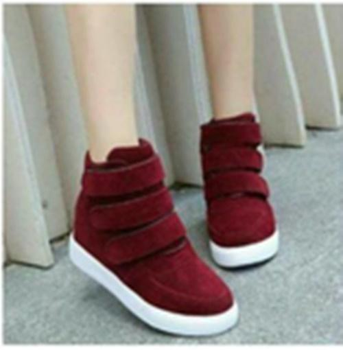 SEPATU KETS BOOTS WANITA KOREAN MARUN-Sepatu semi boot RV31