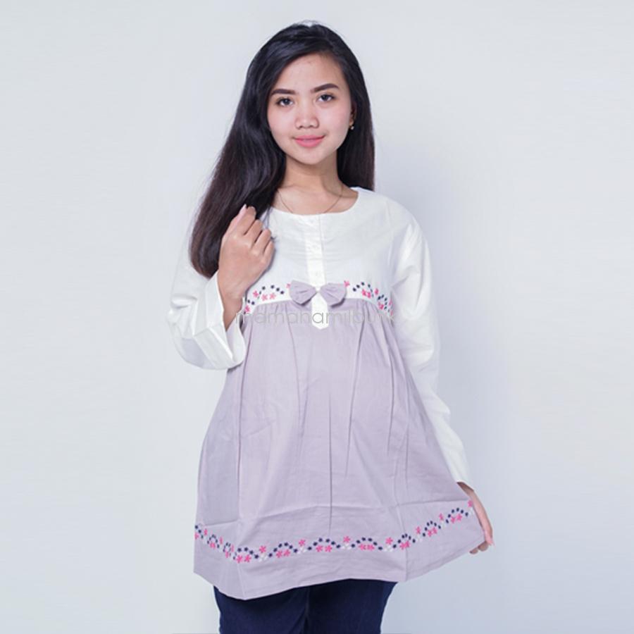 Ning Ayu Baju Hamil Panjang Motif Bunga Pita  Modis  - BLJ 427 / Baju Menyusui Lengan Panjang / Baju Atasan Menyusui / Baju Menyusui Muslimah / Baju Muslim Wanita untuk Ibu Menyusui/ Baju Hamil Untuk Kerja / Baju Hamil Untuk Kerja Modis