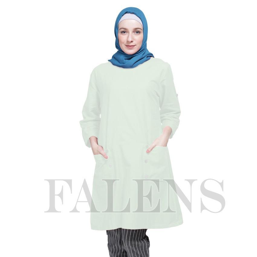 Falens Gina Tunik Atasan wanita Baju Blouse cewek Fashion Bagus Cantik Bahan Adem - White putih