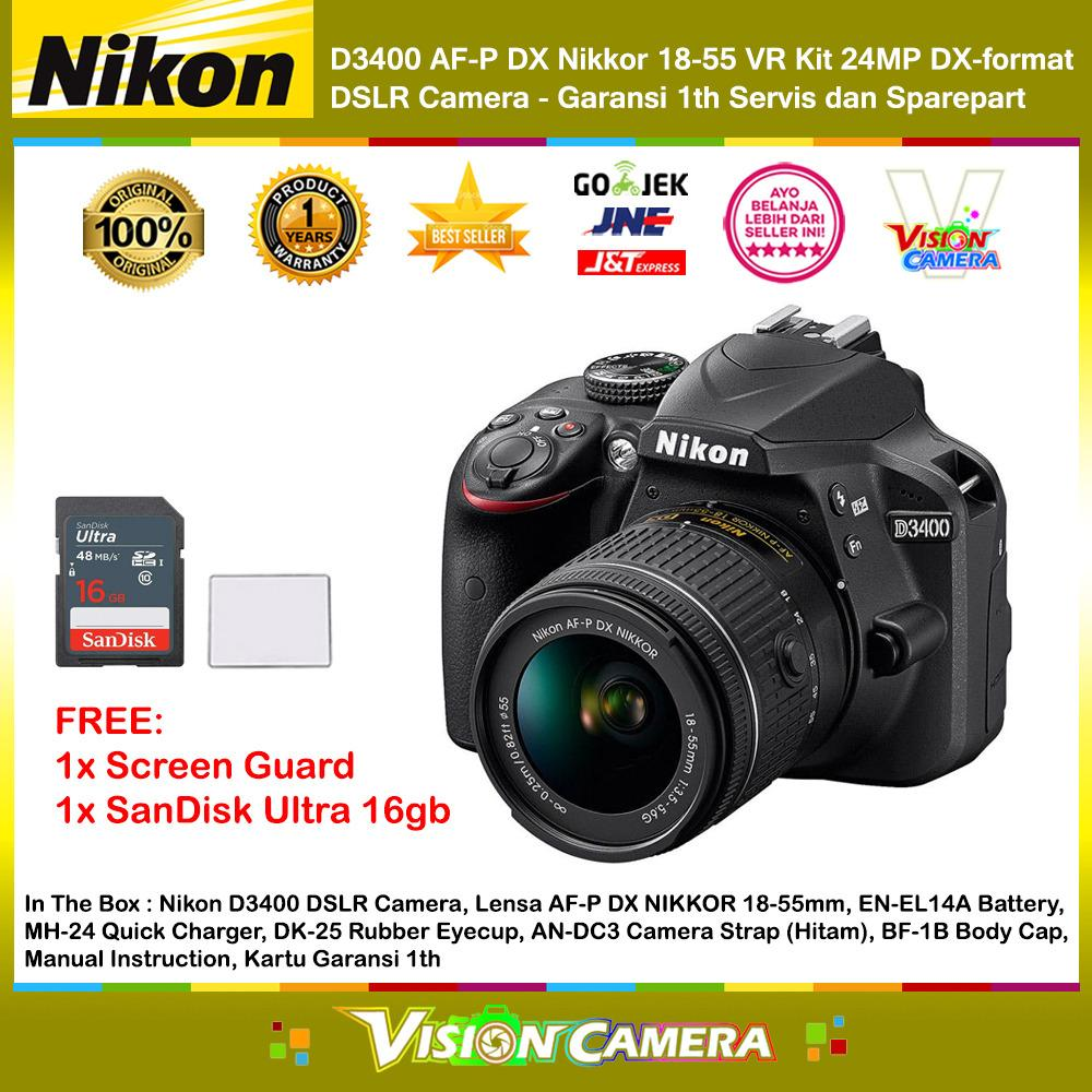 NIKON D5300 AF-P DX Nikkor 18-55 VR Kit 24MP DX-Format DSLR Camera (Garansi 1th) + Screen Guard + SanDisk Ultra 16gb