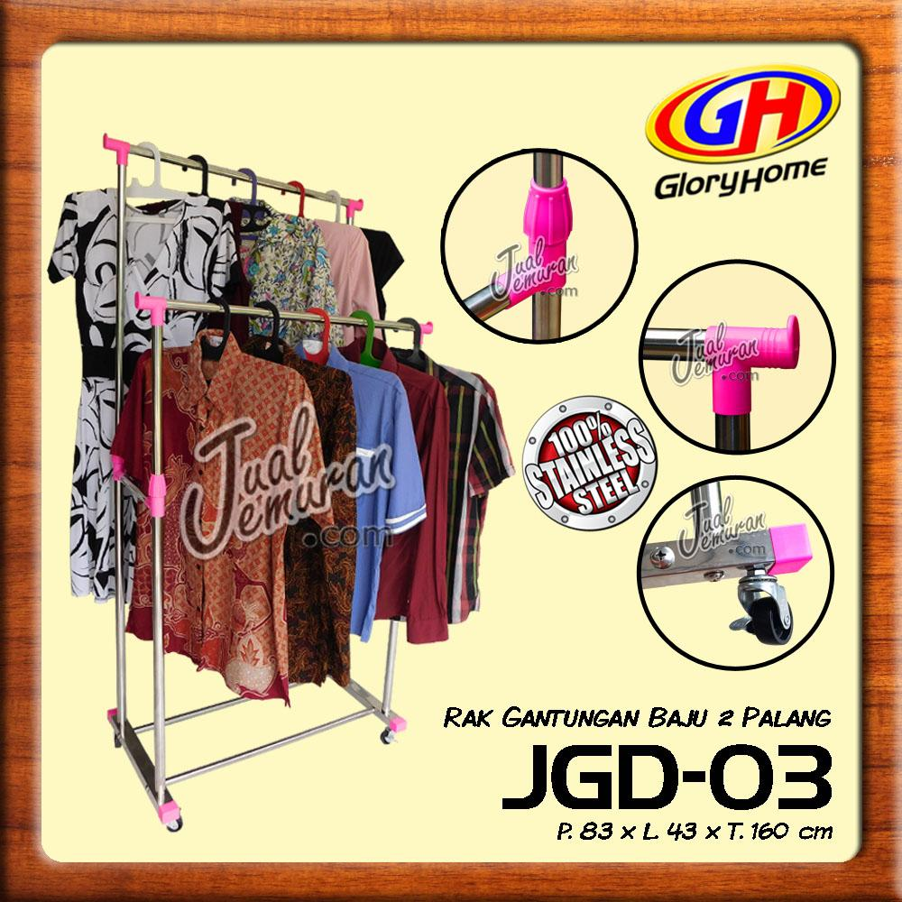 Glory Home Jemuran Gawang / Rak Gantungan / Jemuran Baju 2 Palang - Bayar di Tempat / COD