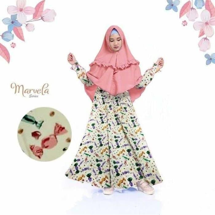Baju Muslim Gamis Anak/Baju Hijab Remaja/Pakaian Gamis Wilona Peach