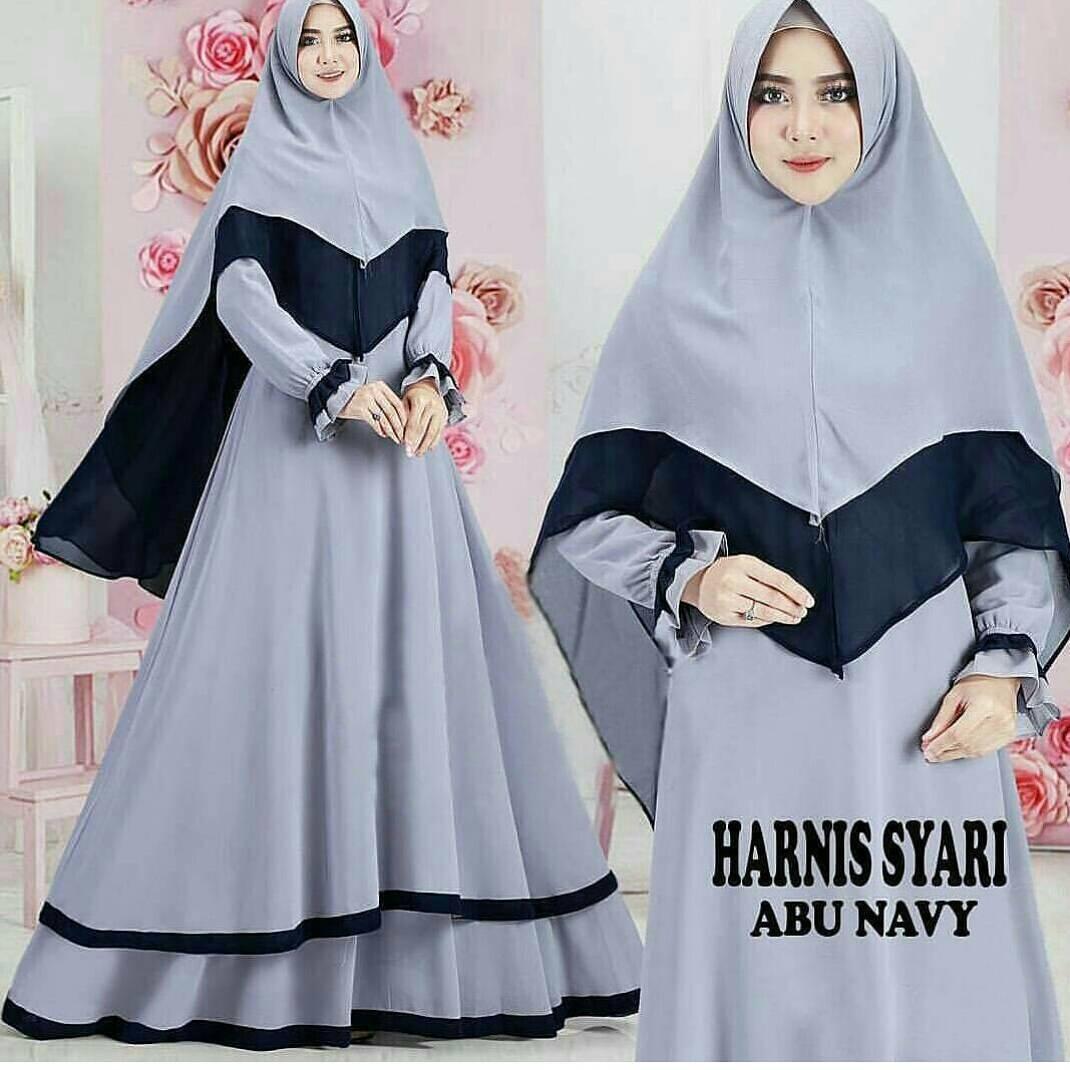 Baju Muslim Original Gamis Harnis Syari Dress Wallycrepe Baju Panjang Muslim Dress Casual Wanita Pakaian Hijab Modern Gamis Modis Trendy Gaun Terbaru 2018