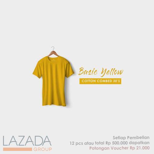 Kaos Polos Basic Yellow Fashion-able Label [PREMIUM QUALITY]