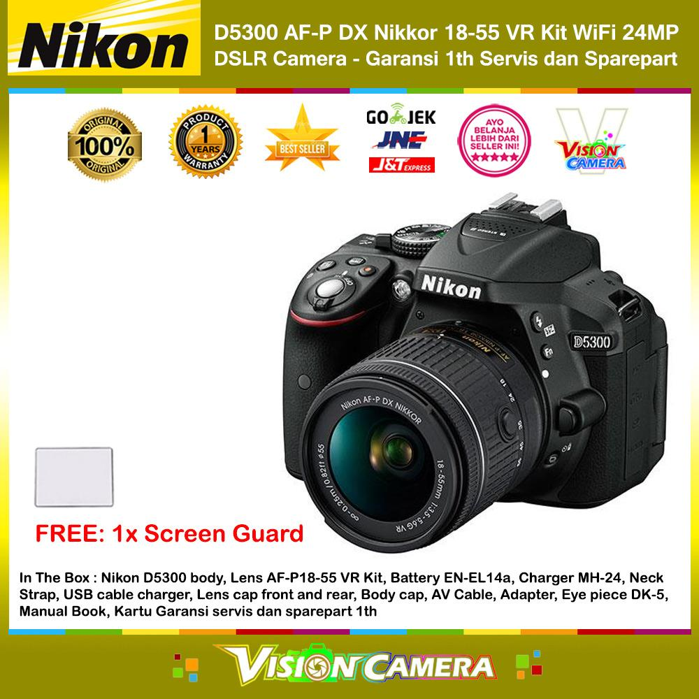 NIKON D5300 AF-P DX Nikkor 18-55 VR Kit 24MP DX-Format DSLR Camera (Garansi 1th) + Screen Guard