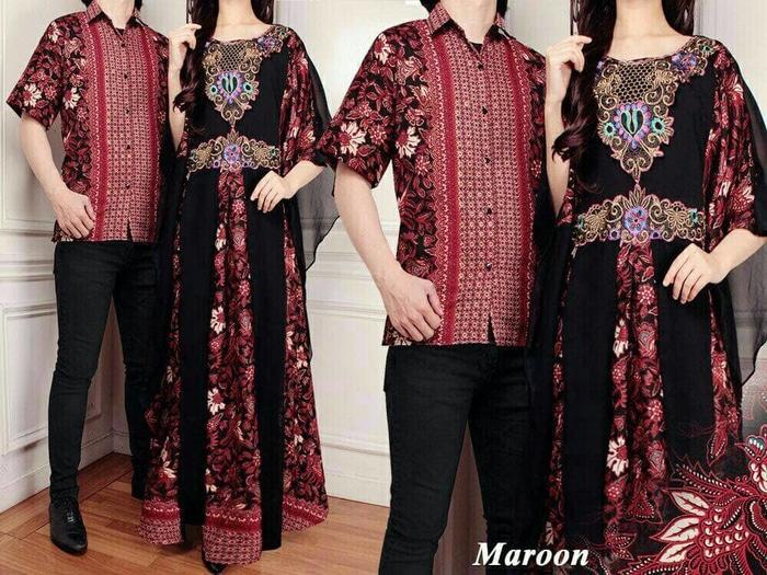 TERBARU Couple Batik Sutra RAFFI Maroon PROMO