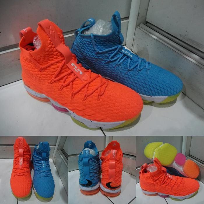 Sepatu Basket Nike Lebron XV 15 Airmax Fire and Ice Orange Blue Oren