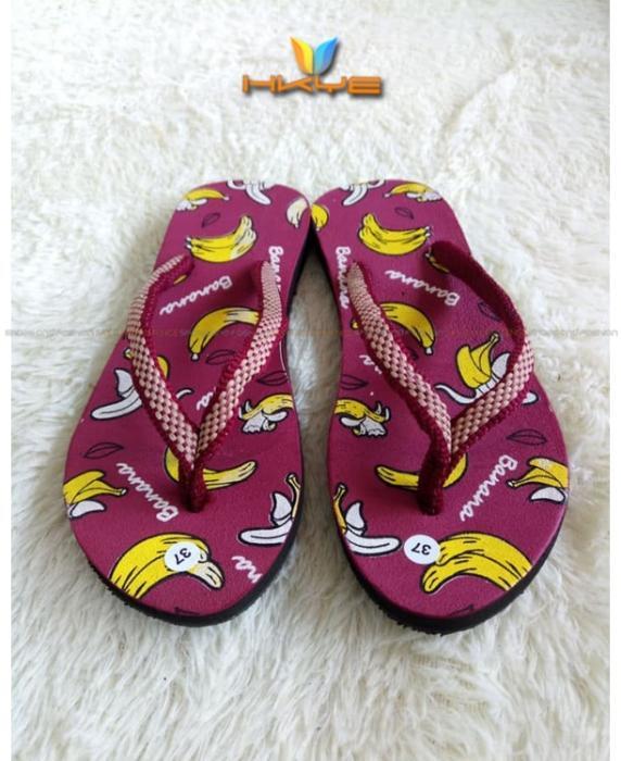 Sandal Jepit Wanita Motif Banana Lucu  / Merah / Marun / Biru / Ungu dan Pink / Sandal Murah / Jual sandal Cewek / Grosir Paling Dicari / Hot sale