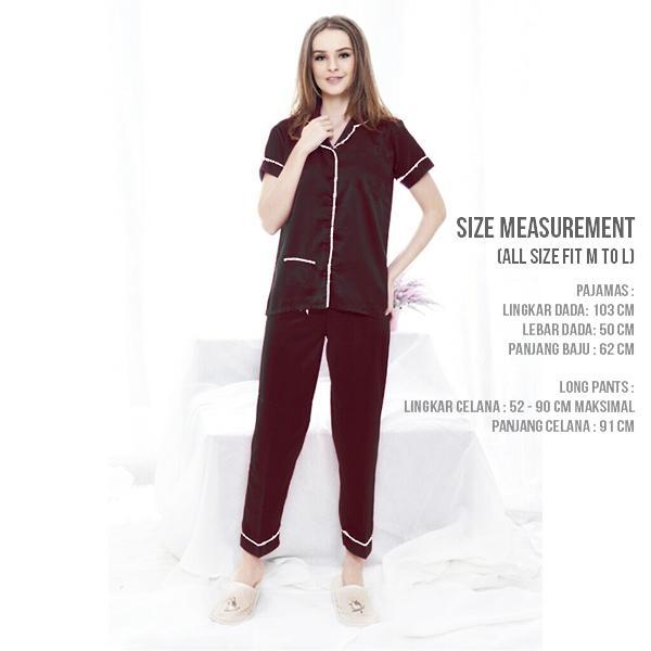 Baju tidur wanita model piyama satin dengan celana panjang piyama sleepwear nightwear
