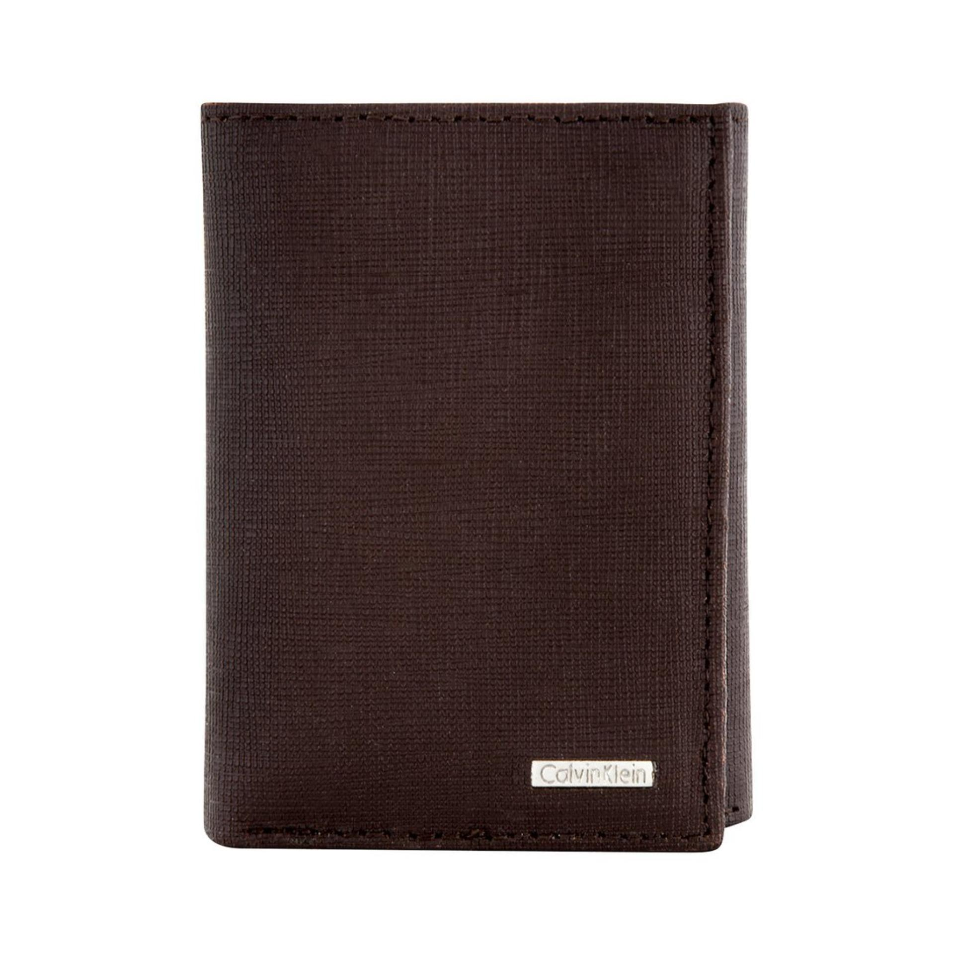 Calvin Klein Leather Trifold Wallet - Brown Grain