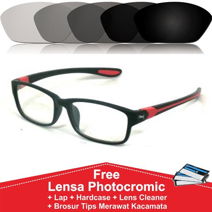 Frame Kacamata Photocromic / Photogrey / Fotogrey Minus Sporty Anti Radiasi Komputer Berubah Warna P833 Hitam Merah