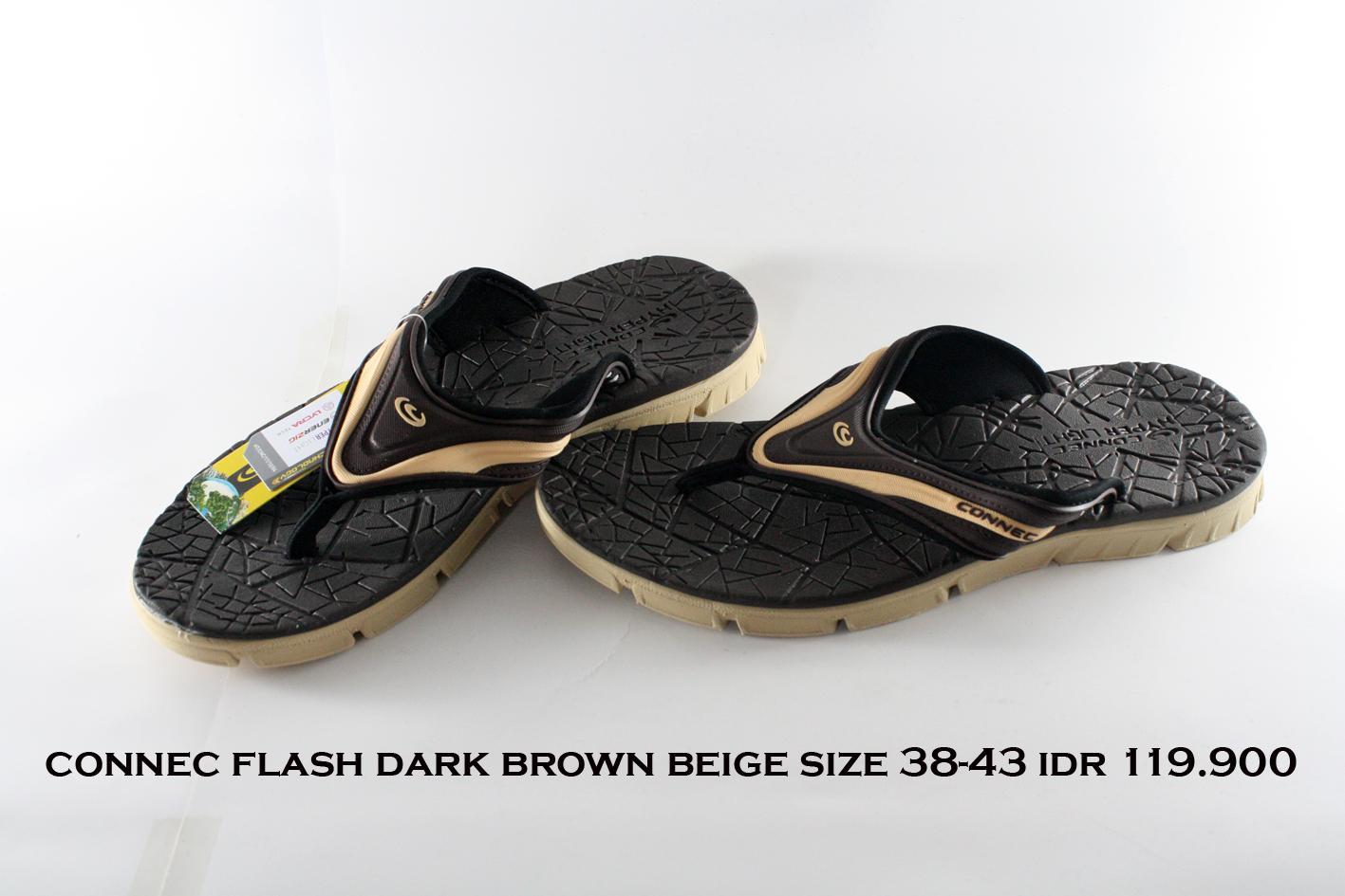 connec flash sandal jepit pria coklat tua beige