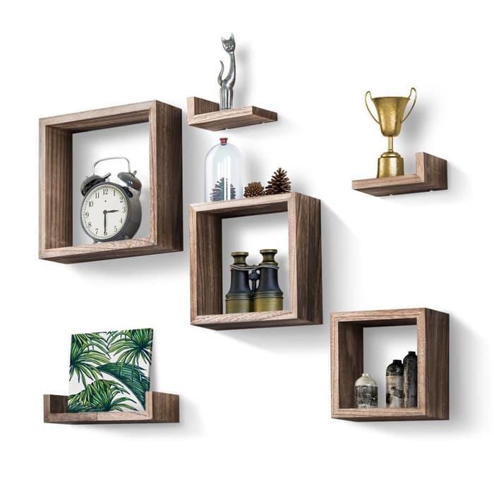 1 set rak dinding rak foto kotak rak mainan rak kayu hiasan dinding