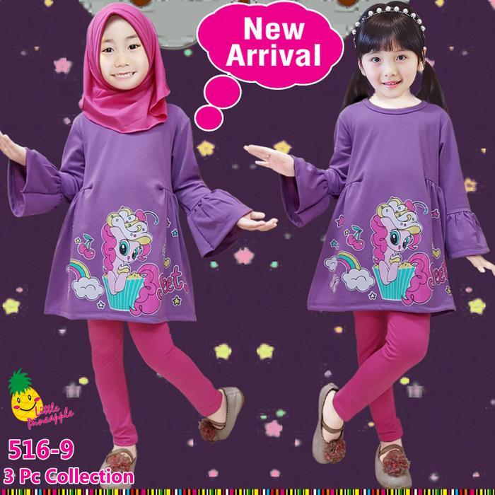 New  Baju Muslim Anak Perempuan Little Pineapple Pinky Pie Ungu Leging Pink