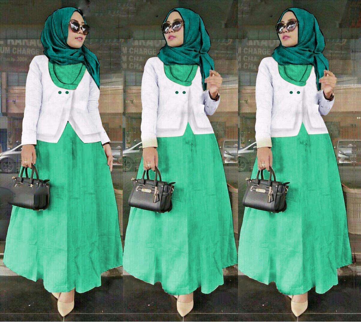 J&C Setelan Muslim Hijab Hasana Saten 3In1 / Dress Maxi / Maxi Muslim / Setelan Maxi Dress / Dress Muslim / Setelan Busana Muslim / Setelan Baju Muslim / Baju Gamis Wanita / Setelan Muslim / Hijab Fashion / Hijab Style