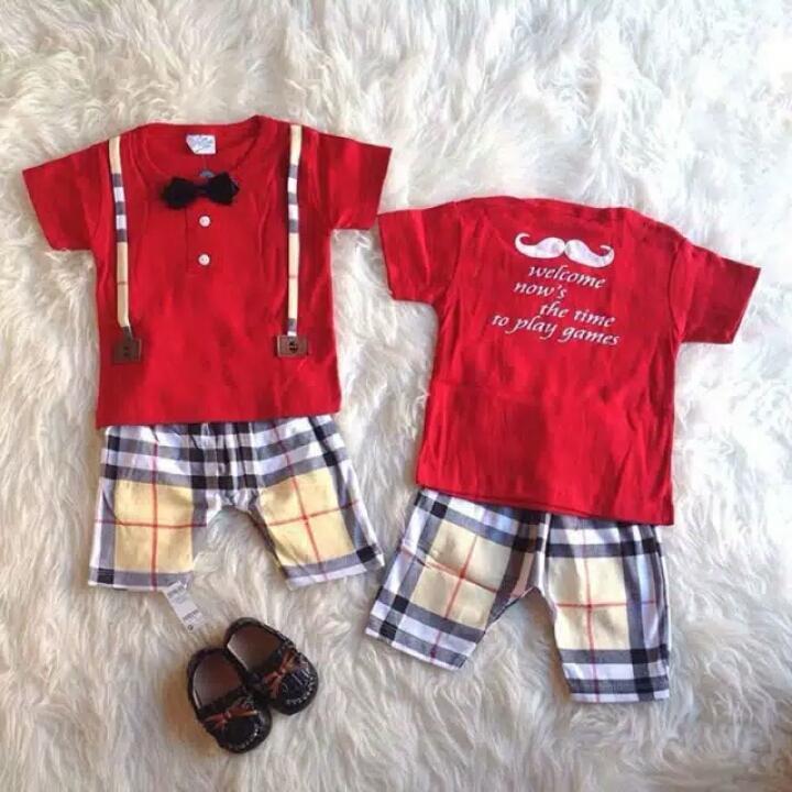 Setelan Anak Cowok kotak suspender - Merah - Baju Anak Laki-Laki Murah - Stelan Formal dasi - Pakaian Pesta Bayi