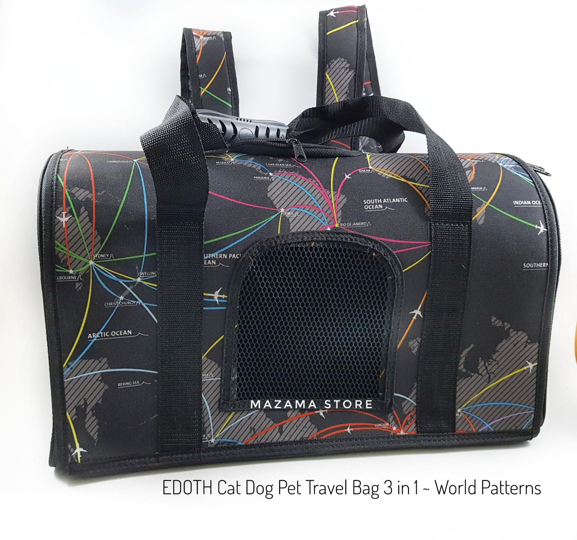EDOTH Cat Dog 3 in 1 Pet Travel Bag World Patterns  / Kandang kucing / Kandang / Kandang Anjing / Kucing / Anjing / Travel Bag Pet / Ransel / Tas Gendong Kucing Anjing / Tas Jingjing Kucing Anjing / Backpack Cat Dog