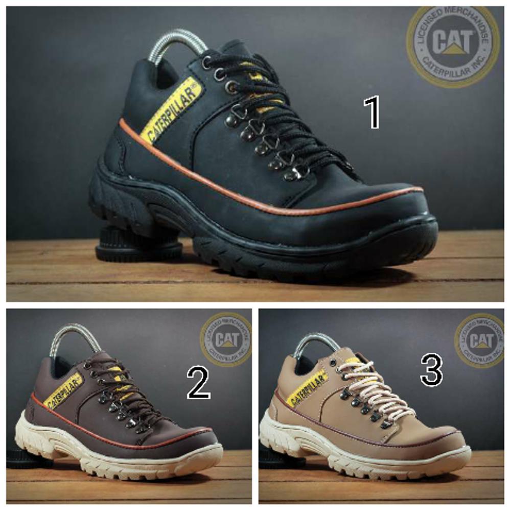 Jual sepatu safety low boots pria caterpilar (ujung besi) Fashion