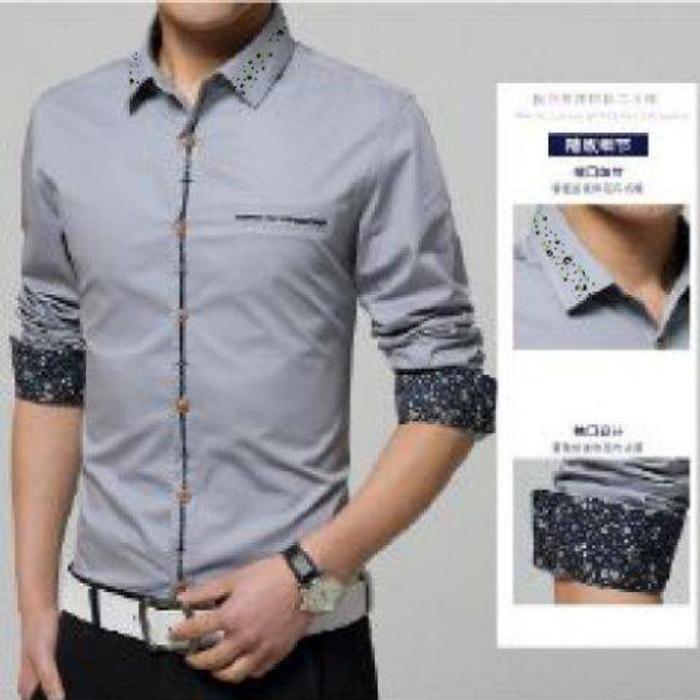 [cooper silver OT] pakaian pria kemeja slim fit warna abu / Lengan Panjang / Katun Stretch / Slimfit / Casual/ Kemeja Kerja / Kemeja Kantor / Atasan Pria Kemeja Kantor Formal