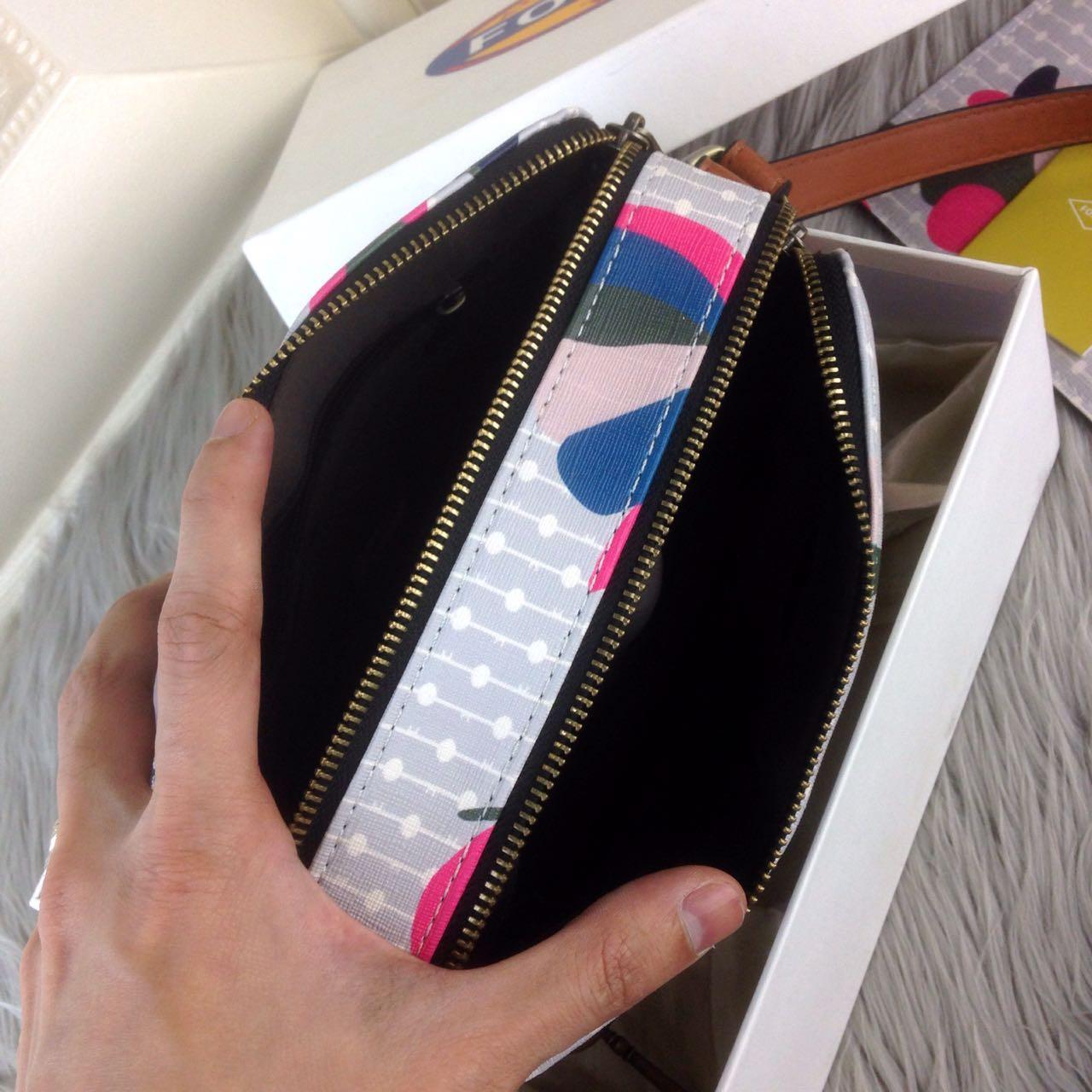 Fitur Tas Wanita Fossil Piper Toaster Floral Multi Grey Double Zip Sydney Satchel Neutral Stripe Putih Bag Ss18 3