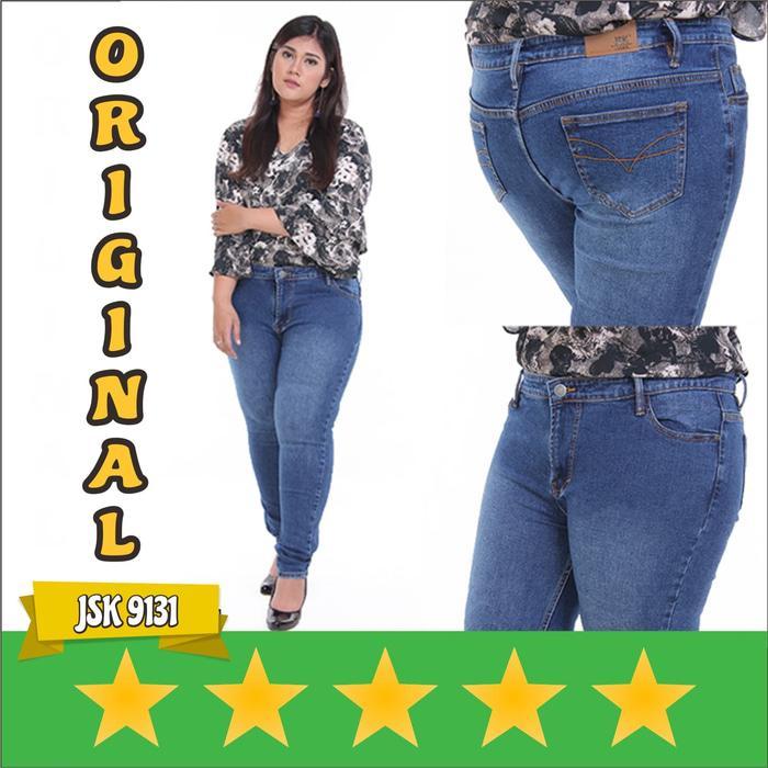 JSK 9131 - Big Size Cealan Skinny Jeans Untuk Wanita Gemuk - Biru- 31 - 34