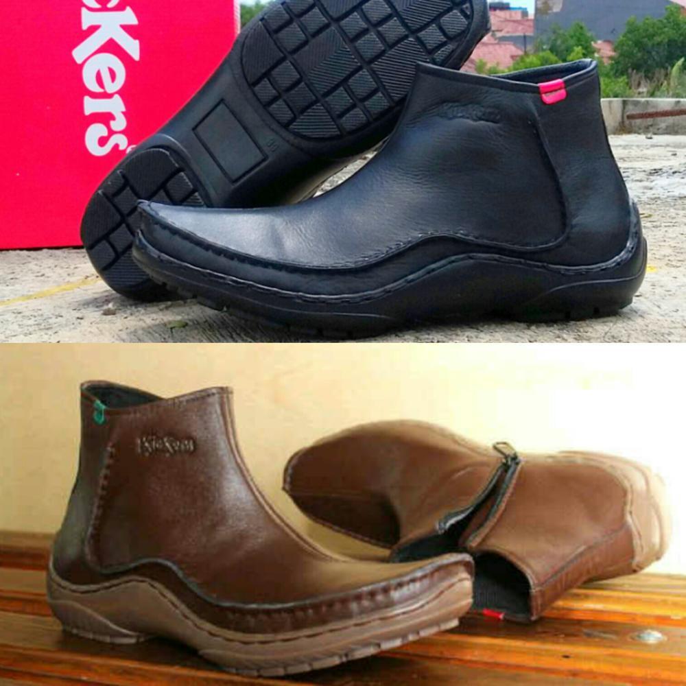 Promo Sepatu Kickers zipper boots resleting hitam cokelat pria  kulit asli #nike #adidas #crocodile  Fashion