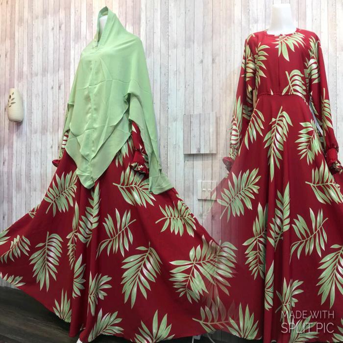 Adzra Diskon!!! Sale!!! Promo Gamis Murah/Gamis wanita/Busana muslim/Gamis syar'i - Asheeqa Dress -Maroon