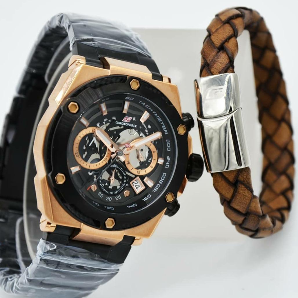 Chronoforce Jam Tangan Fashion Pria Leather Strap Brown Cr5257 Gold 5228mb Stainless Steel Hitam Putih 5297 Free Bracelet Rose