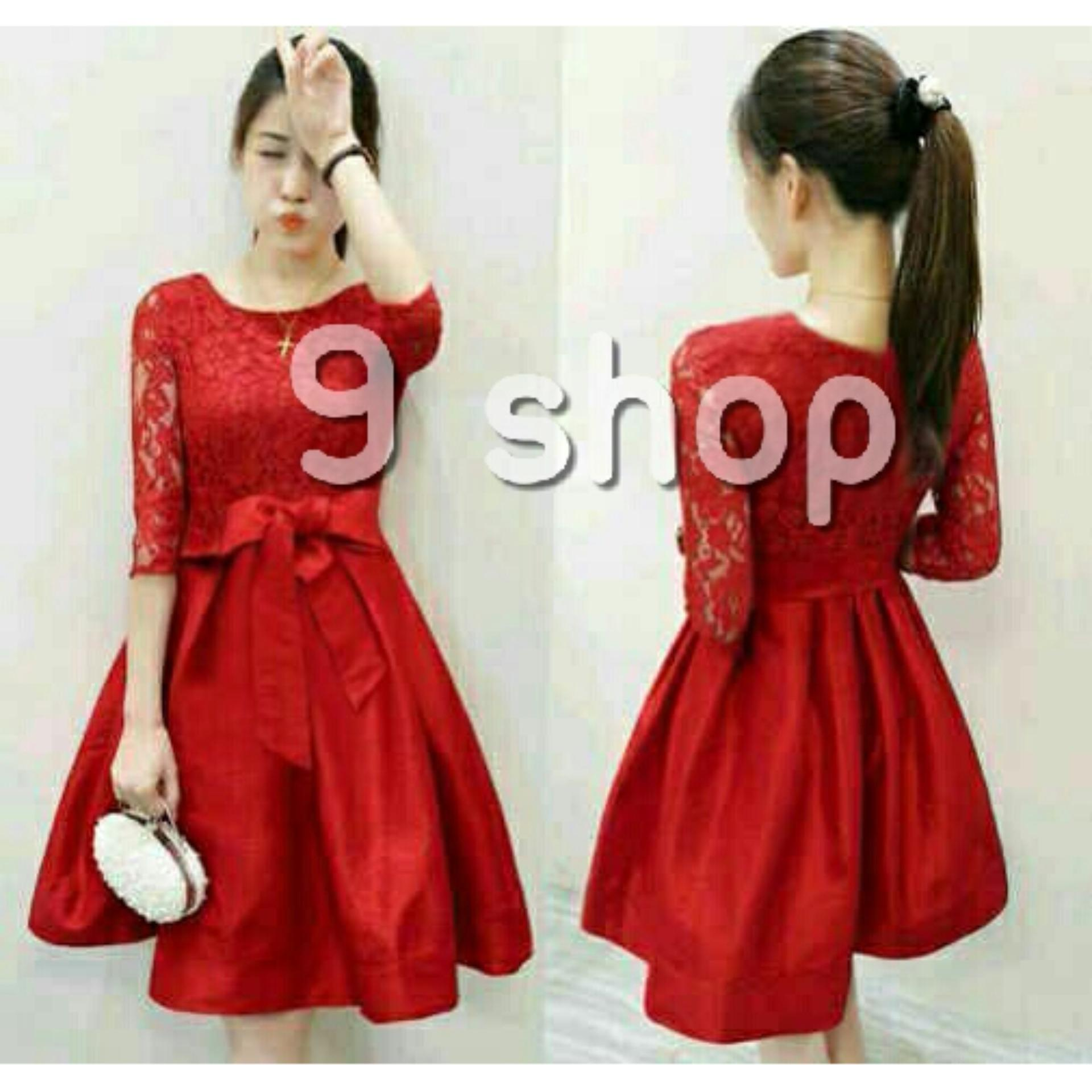 9 Shop Dress Brukat Wanita MERLI / Dress Korea / Dress Renda / Lace Dress /