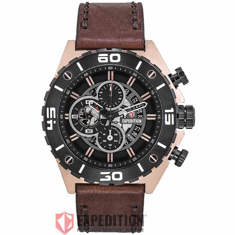 Jual Jam Tangan Expedition Sapphire Terbaru Pria 6381 Mcbipba Full Hitam Original E 6755 Mc Lbrba Chronograph Men Black Dial Brown Leather Strap