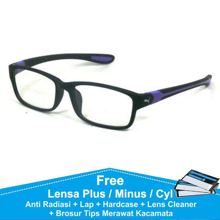 Frame Kacamata Baca / Plus / Minus Sporty Anti Radiasi Komputer P833 Hitam Biru