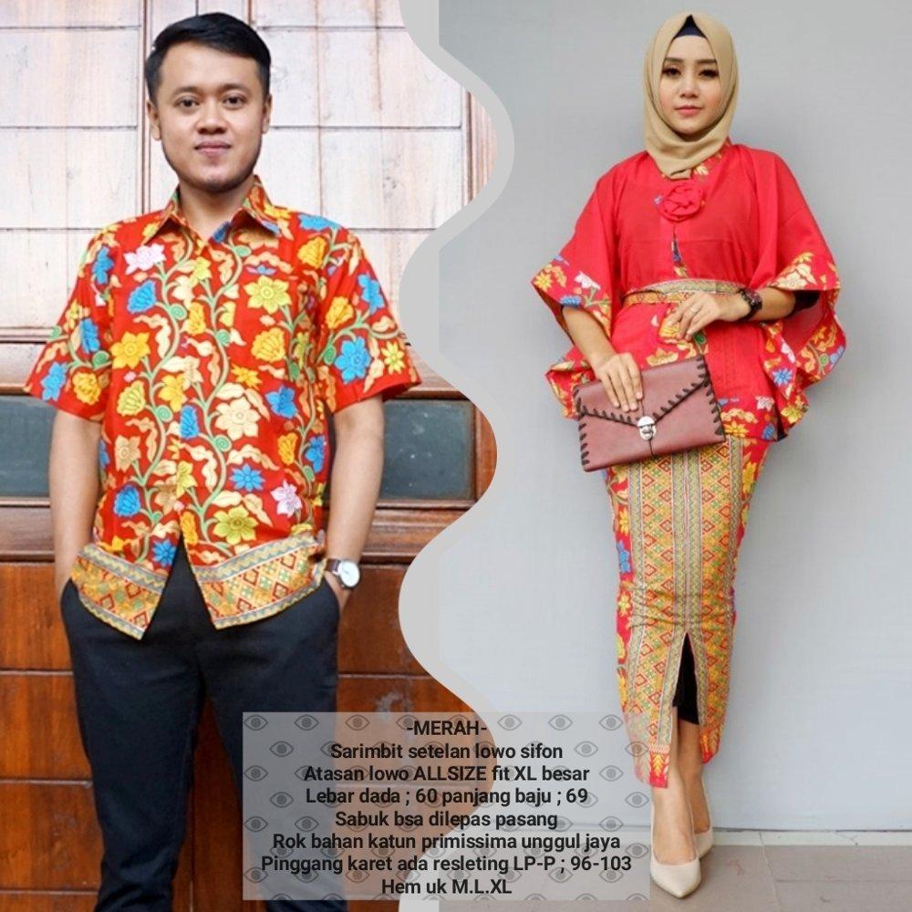 baju couple batik muslim bahan katun terbaru warna merah BSG621
