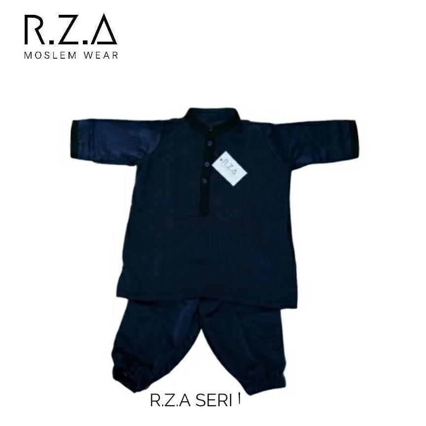 RZA MW Baju Gamis Turki Series ( Alif ) Anak Laki Setelan Baju dan Celana Biru Dongker Navy Kain Premium Dingin Dipakai Pakistan Arab Koko Jubah Anak Syari Syari Ganteng Tidak Isbal