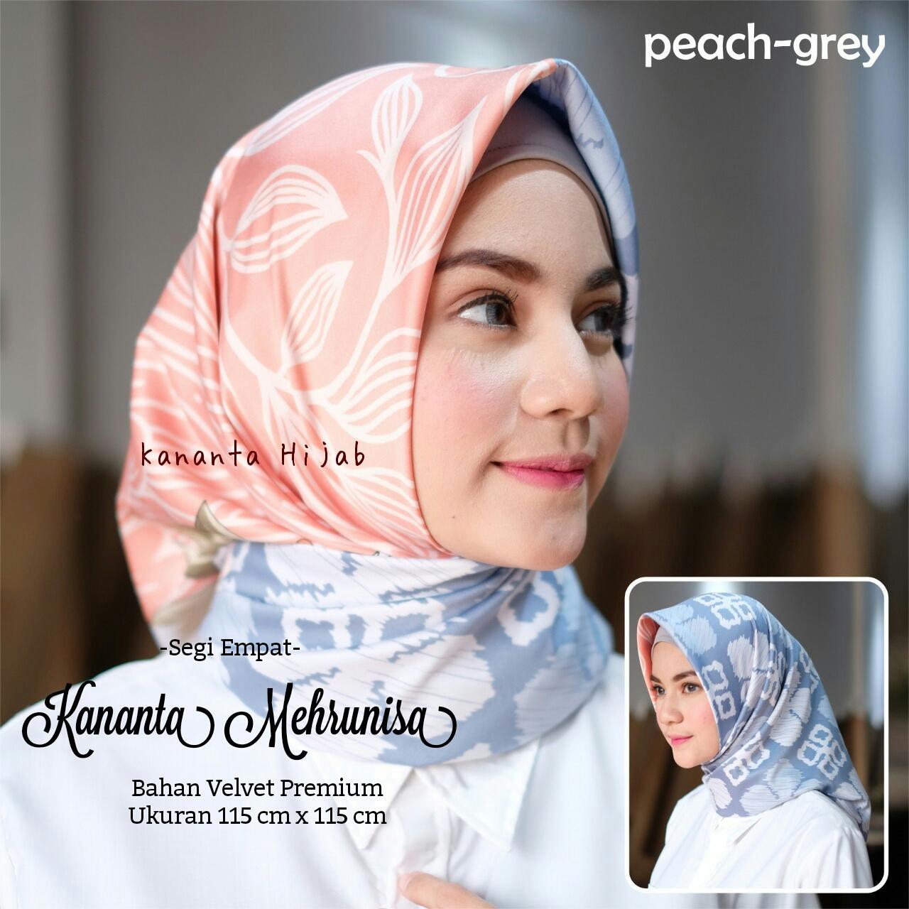 Kananta Hijab Segi Empat Motif / Jilbab Segi Empat Motif / Kerudung Segi Empat Motif / KANANTA MEHRUNISA / Bahan Kain Velvet Premium