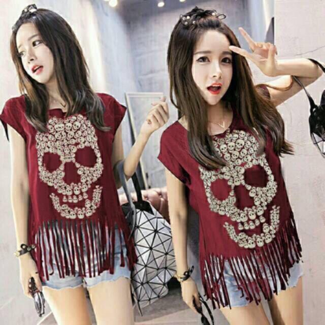 Damai fashion jakarta - baju atasan wanita Skull RUMBAI - dua warna BAJU MURAH TANAH ABANG