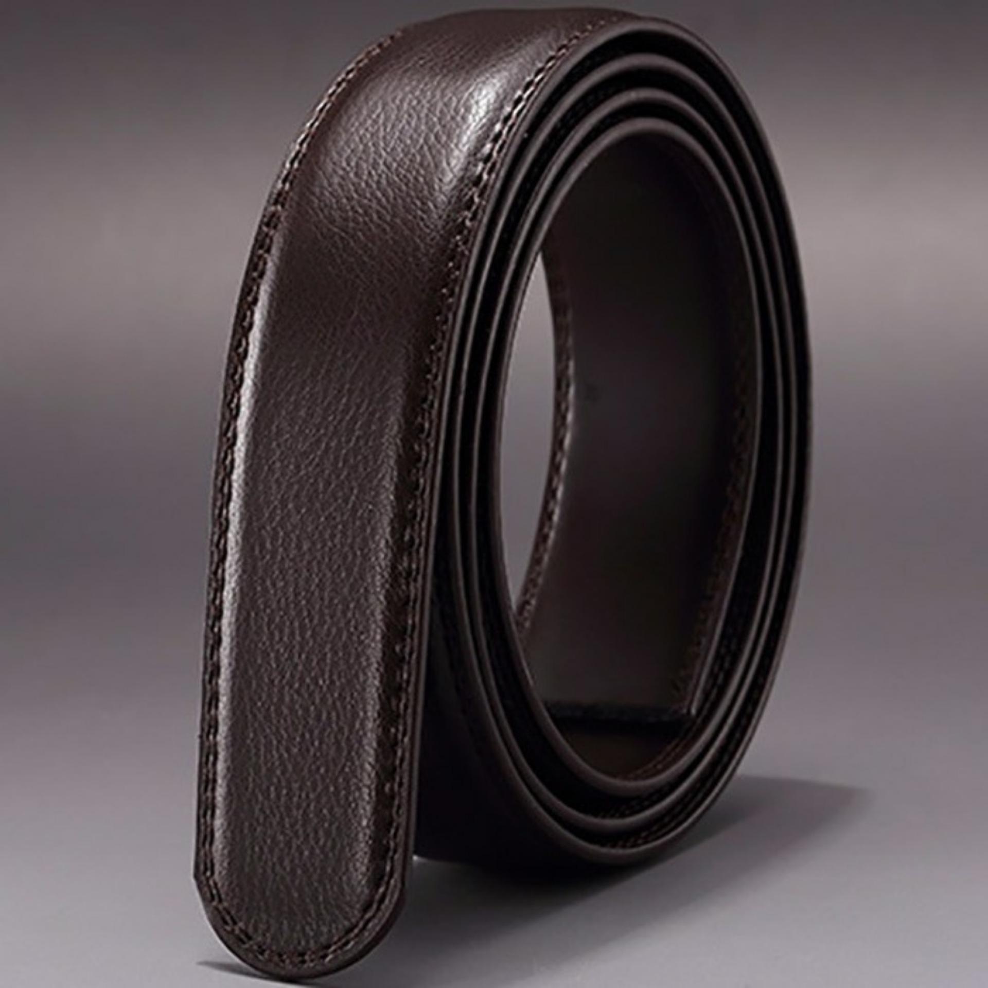 Sabuk/Tali Pengikat Pinggang 100% Kulit Asli Model Rell- Tanpa Gesper - Coklat