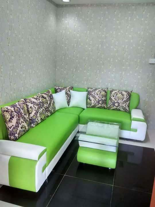 sofa model varian sudut hijau