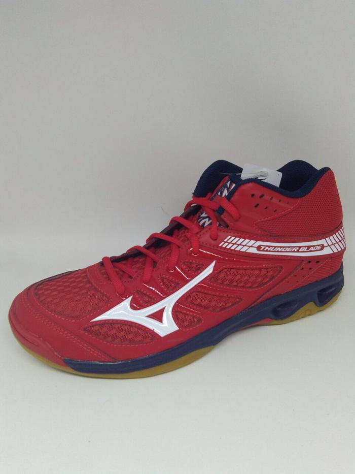 Sepatu volley mizuno original Thunderblade MID mars red/white new 2018 - piHH8G