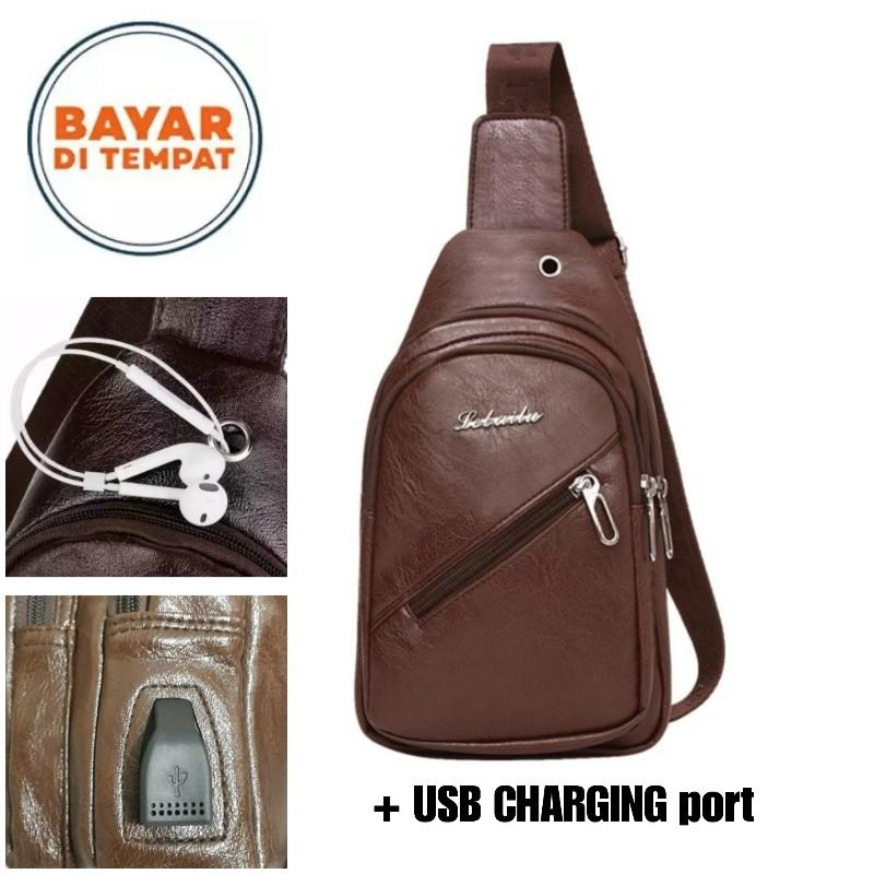 Adventurer Sling Bag Kulit Pria Tas Slempang Kulit Pria Tas Dada Chest Bag Leather Men's Crossbody Bag with USB CHARGING PORT  ADV 9302 BKZ