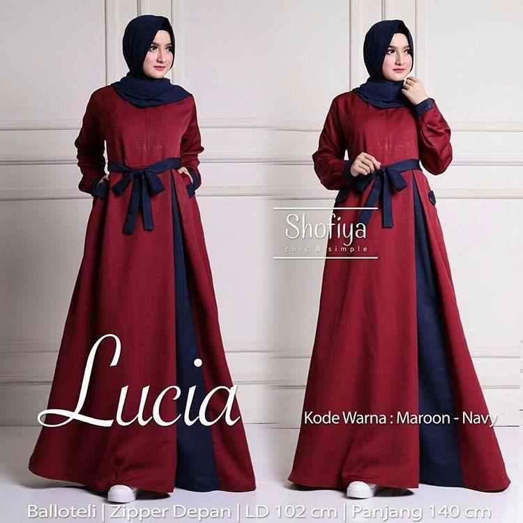 Baju Pakaian Murah Wanita Gamis Maxi /Lucia Dress Maroon  / Grosir Dress Brukat Kekinian Tanah Abang