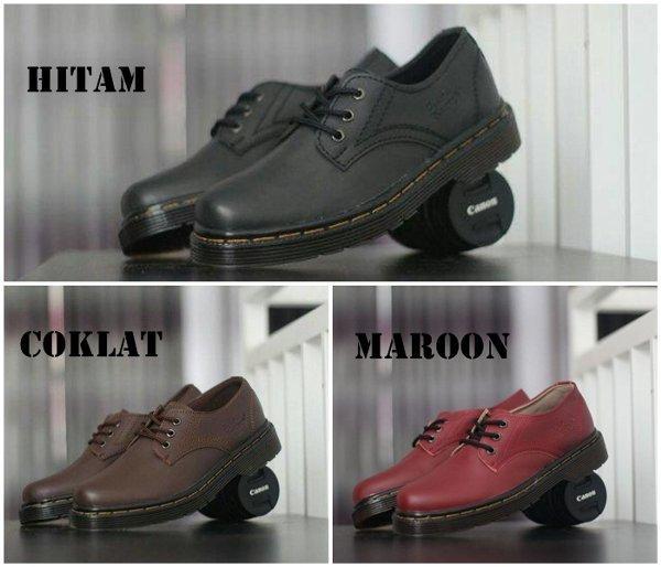 Promo sepatu casual pria dr martens dokmar docmart low boots formal casual kerja hitam coklat maroon
