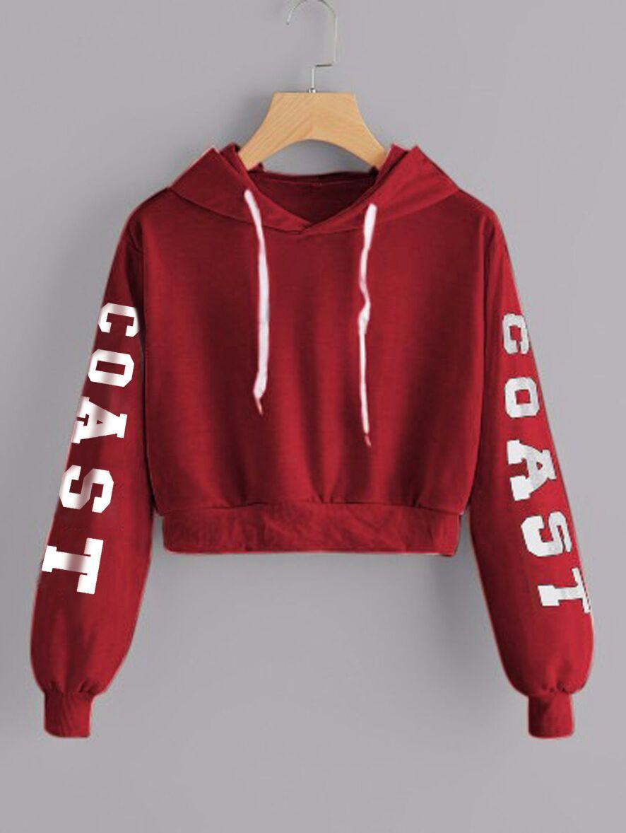MichelleStore Sweater Wanita Hoodie Crop Coast - Red