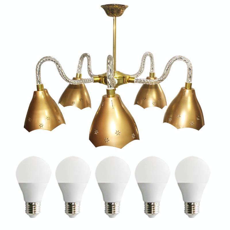 EELIC LHG-36 Lampu Hias Gantung + 5 PCS LED 3 Watt Kap Lampu Stainless Steel Warna Emas Mempercantik Ruangan