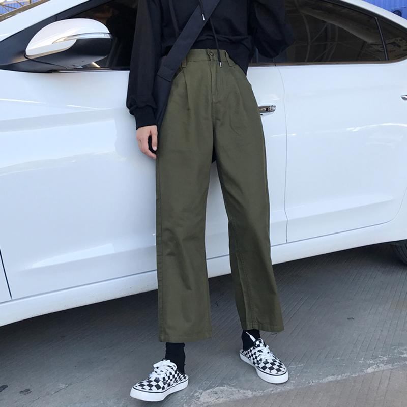 ebe6f719e02 Spring And Autumn INS Hip Hop Ulzzang Versatile Street Snap WorkWear Pants  Loose BF Style Straight