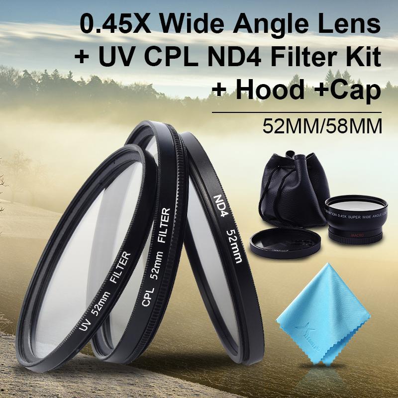 52MM 0.45x Wide Angle + lens Filter Kit for NIKON D5200 D3000 D7100 D7000 LF412