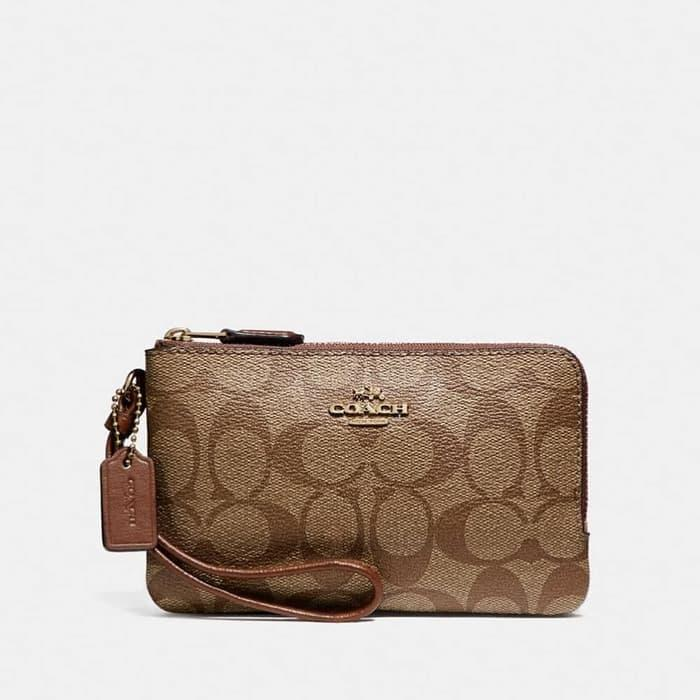 DOMPET COACH ORIGINAL - COACH SMALL WRISTLET DOUBLE ZIP SIGN SADDLE